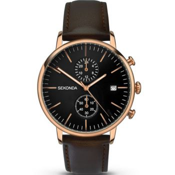 Sekonda Gents Chronograph Leather Strap Watch - 1380-NEW