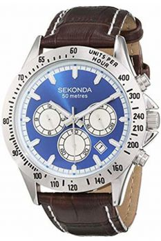 Sekonda Gents Chronograph Leather Strap Watch - 1723-NEW