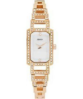 Seksy Ladies Crystal Set Rose Gold Plated Watch    2054-SNP