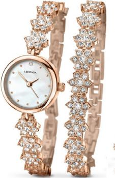 Sekonda  Ladies Rose Gold Plated Watch & Bracelet Set     2115G-NEW