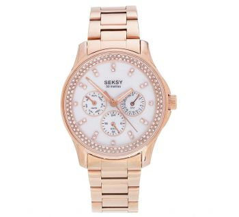 Seksy Ladies Crystal Set Rose Gold Plated Calendar Watch    2411-SNP