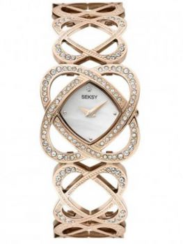 Seksy Ladies Crystal Hearts Watch  4229-SNP