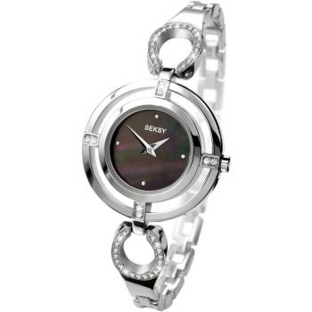 Seksy Ladies Crystal Set Stainless Steel Watch    4621-SNP