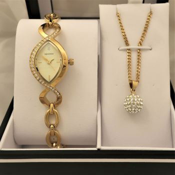 Sekonda  Ladies Gold Plated Watch & Necklace Set     4885G-NEW