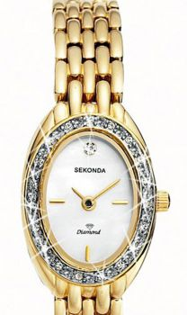 Sekonda Ladies Gold Plated Crystal Set Watch    4968-SNP