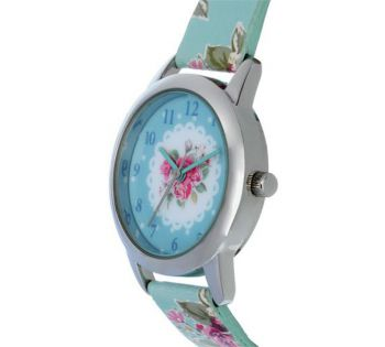 TNP ATK1024 Tikkers Girls Blue Floral Strap Watch With Matching Necklace & Purse.