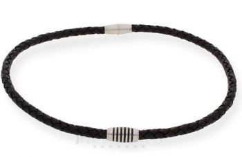 Boccia Mens Leather & Titanium Necklace - B0843-0350 NEW