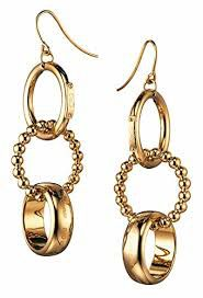 "D&G Dolce & Gabbana Pair of Ladies ""Triplet"" Gold Plated Earrings DJ0659-DJNP"