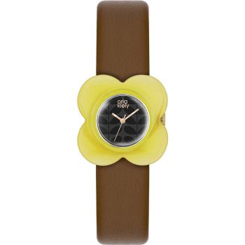 OKNP OK2120 Orla Kiely Poppy Yellow Ladies Leather Strap Watch