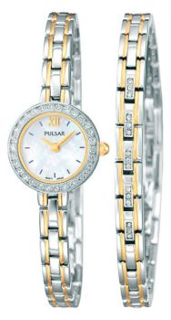 PNP PEGG50X2 Pulsar Ladies Swarovski Two Tone Watch & Matching Bracelet Set