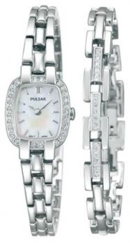 Pulsar Ladies Swarovski Stainless Steel Watch & Bracelet Set - PEGG41X2 PNP