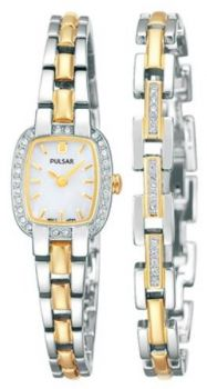 Pulsar Ladies Swarovski Two Tone Watch & Matching Bracelet Set  PEGG43X2 PNP