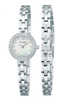 PNP PEGG51X2 Pulsar Ladies Swarovski Stainless Steel Watch & Bracelet Set