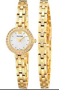 Pulsar Ladies Swarovski Gold Plated Watch & Bracelet Set PEGG52X2-PNP