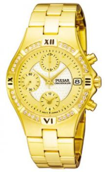 Pulsar Ladies Chronograph Gold Plated Bracelet Watch - PF8214X1 PNP