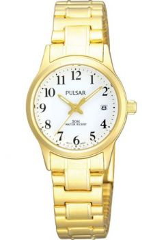 Pulsar Ladies Gold Plated Expanding Bracelet Date Watch - PH7144X1 PNP