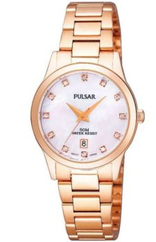 Pulsar Ladies Swarovski Rose Gold Plated Bracelet Watch  PH7312X1 NEW