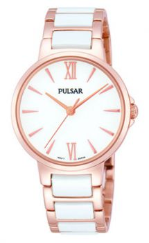 PH8078X1NEW Pulsar Ladies Two Tone Rose Gold Plated Bracelet Watch