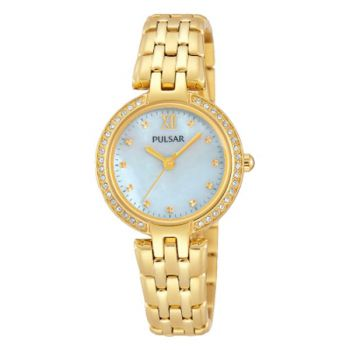 PH8164X1 NEW Pulsar Ladies Swarovski Gold Plated Bracelet Watch