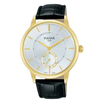 PN4042X1 NEW Pulsar Gents Gold Plated Leather Strap Watch