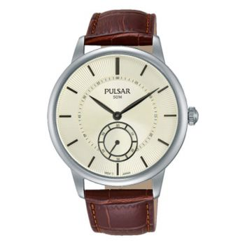 PN4043X1 NEW Pulsar Gents Gold Plated Leather Strap Watch