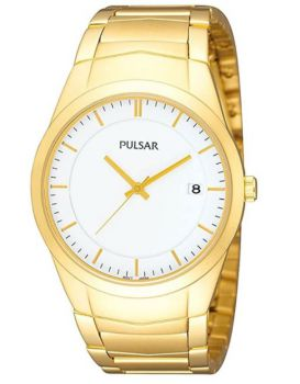 Pulsar Mens Gents Gold Plated Date Display Bracelet Watch  PS9150X1 PNP