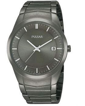 Pulsar Gents Grey Ion Plated Bracelet Watch PS9153X1 NEW