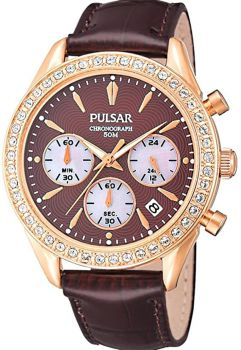 Pulsar Ladies Chronograph Rose Gold Plated Watch - PT3154X1 PNP