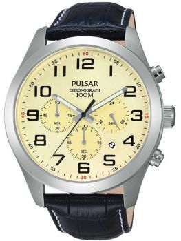 Pulsar Gents Chronograph Leather Strap Watch    PT3665X1-PNP