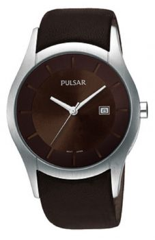 Pulsar Gents Leather Strap Watch - PXDB17X1 PNP