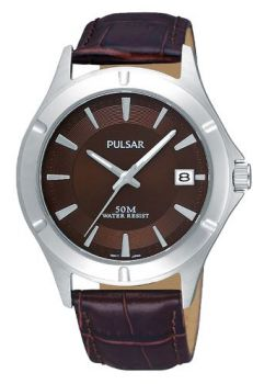 Pulsar Gents Date Display Leather Strap Watch  PXH987X1-PNP