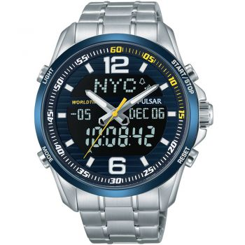 Pulsar Gents Chronograph World Time Watch - PZ4003X1 NEW