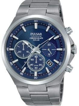 Pulsar Gents Solar Powered Titanium Watch - PZ5095X1 NEW