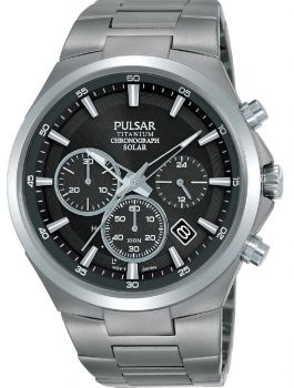 Pulsar Gents Solar Powered Titanium Watch - PZ5097X1 NEW