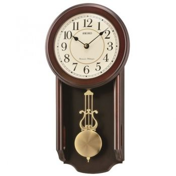 NEW Seiko Wooden Chiming Wall Clock with Pendulum. QXH063B