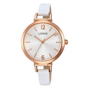 Lorus Ladies Rose Gold Plated Leather Strap Watch   RG266KX9-LNP