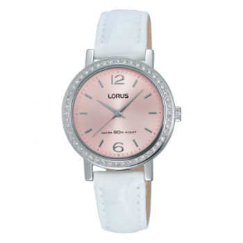 Lorus Ladiies Swarovski Leather Strap Watch   RG295KX9-LNP