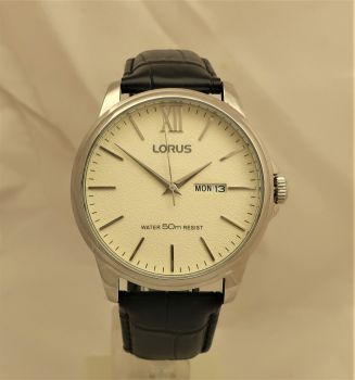 Lorus Gents Leather Strap Day Date Watch RXN19DX9-OS1-LNP