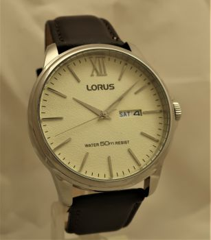 Lorus Gents Leather Strap Day Date Watch RXN19DX9-OS-LNP