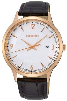 Seiko Gents Classic Leather Strap Watch   SGEH88P1-NEW