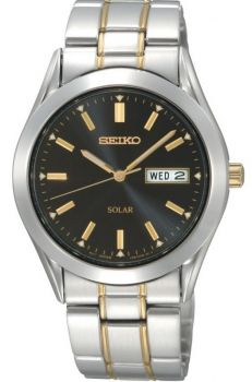 Seiko Gents Solar Two Tone Watch SNE047P9 NEW