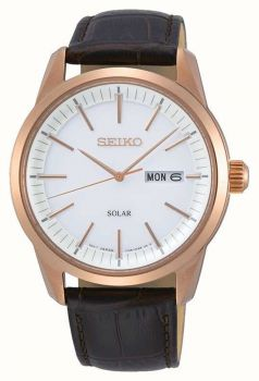 Seiko Gents Solar Gold Plated Watch - SNE530P1-NEW