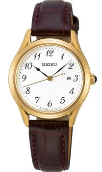 Seiko Ladies Leather Strap Watch - SUR698P2-NEW